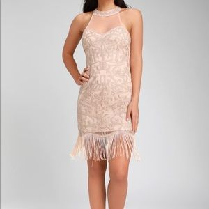 Dresses & Skirts - NWOT Blush Pink Beaded Fringe Sleeveless Dress
